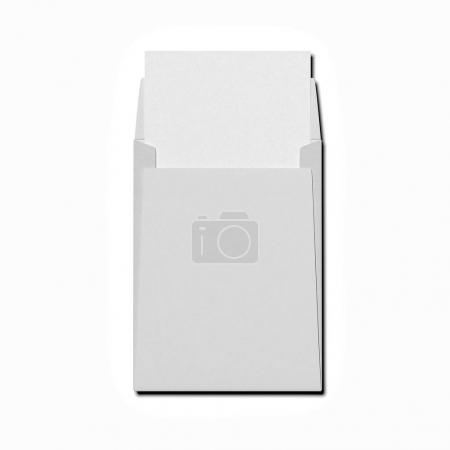 Blank gray envelope with white paper sheet . 3d rendering