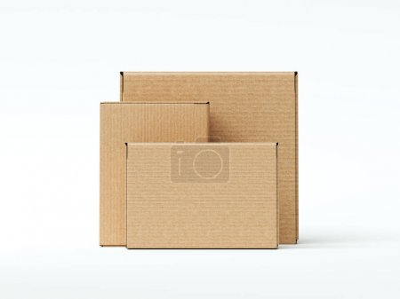Photo for Brown cardboard blank packages isoalted on white. 3d rendering - Royalty Free Image