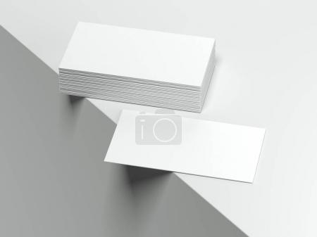 Blank white business cards. 3d rendering