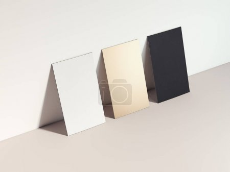 Photo pour Trois cartes de visite différentes dans le studio orange. Rendu 3d - image libre de droit