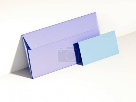 Purple envelope and blue business card. 3d rendering
