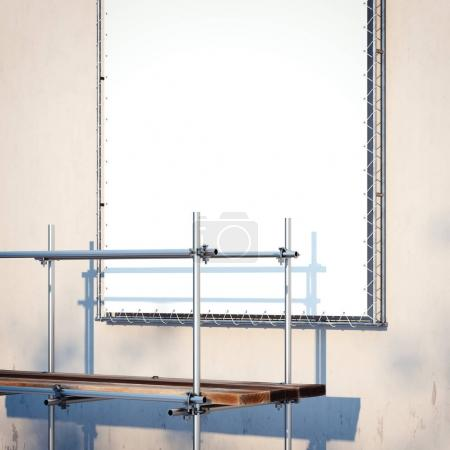 Scaffolding and banner on the wall. 3d rendering