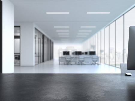 Photo pour Bureau vide noir à l'intérieur lumineux du bureau. Rendu 3d - image libre de droit
