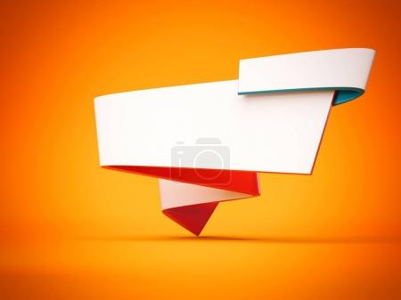 Futuristic banner isolated on bright background. 3d rendering