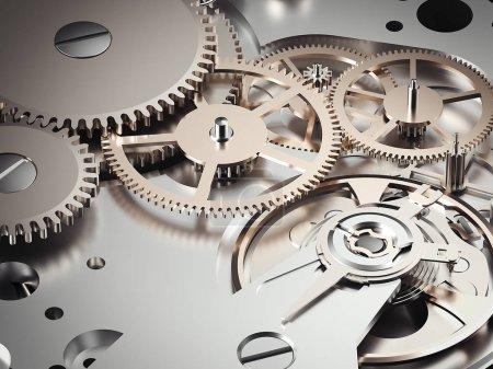 Clockwork mechanism with gears. 3d rendering