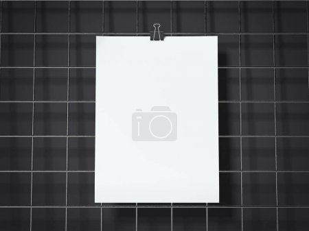 Paper sheets hanging on the black wire board. 3d rendering