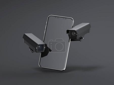 Modern smartphone with two black spy cams. 3d rendering