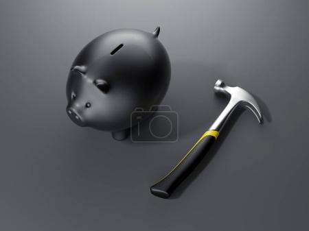 Piggy bank with hammer. 3d rendering