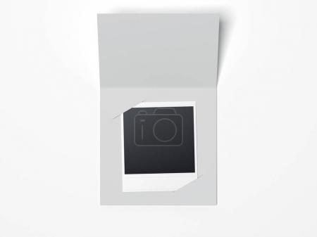 Gray leaflet with photo inside. 3d rendering