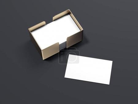 Blank white business cards with golden holder. 3d rendering