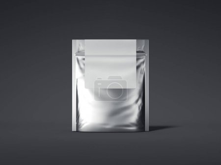 Silver zipper bag with blank label. 3d rendering