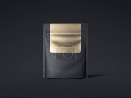 Black zipper bag with golden label. 3d rendering