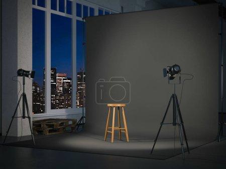 Photo pour Photostudio moderne avec écran noir blanc et chaise en bois. Rendu 3d - image libre de droit