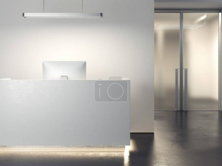 Photo for Modern clean office reception with computer. 3d rendering - Royalty Free Image
