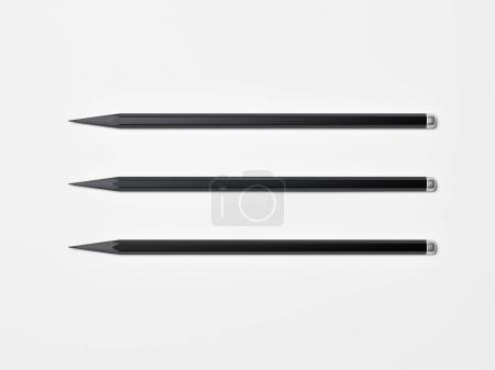 Photo for Three black pencils isolated on white background. 3d rendering - Royalty Free Image