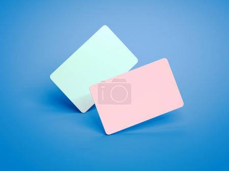 Two colored business cards with round corners. 3d rendering