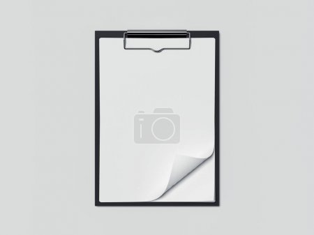 Black clipboard with white paper sheets. 3d rendering