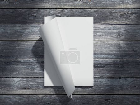 Magazine with blank paper sheets. 3d rendering