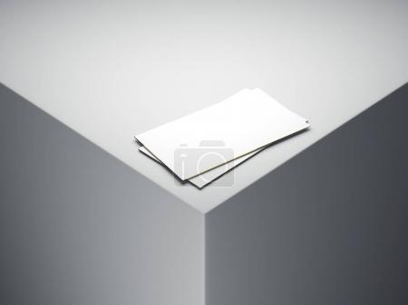 Two white business cards. 3d rendering