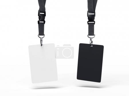 Black and white badges. 3d rendering