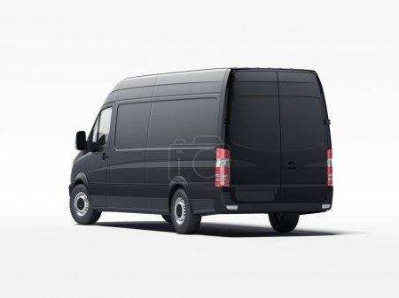 Photo pour Camion noir avec murs vierges prêts pour la publicité. Rendu 3d - image libre de droit