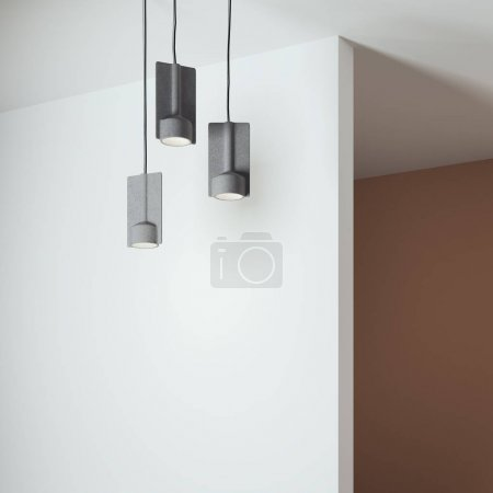 Photo pour Intérieur de couleur vive avec mur blanc et trois lampes. Rendu 3d - image libre de droit