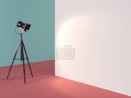 Black projector in colored interior. 3d rendering