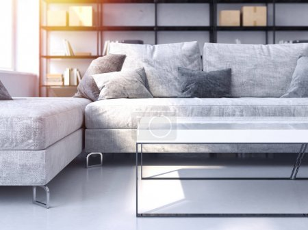 Photo for Modern living room with cozy sofa and white table. 3d rendering - Royalty Free Image