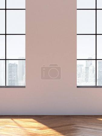 Foto de Interior de loft con grandes ventanales. Render 3D - Imagen libre de derechos