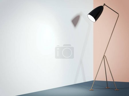 Photo for Black lamp in colored interior with white wall. 3d rendering - Royalty Free Image