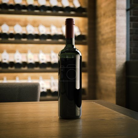 Wine bottle on the wooden table. 3d rendering
