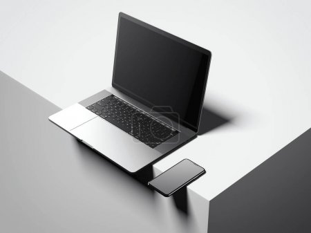 Modern silver laptop and smartphone. 3d rendering