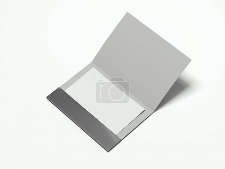 Opened silver leaflet with blank sheet. 3d rendering