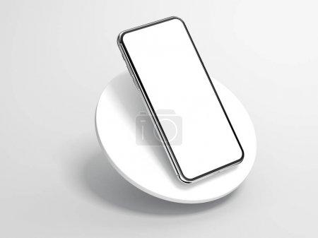 Photo pour Smartphone argent moderne isolé sur le cylindre blanc. Rendu 3d - image libre de droit