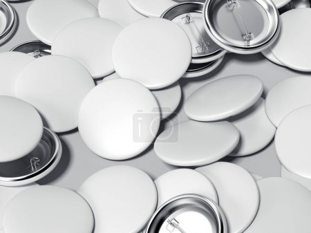 White button badges. 3d rendering