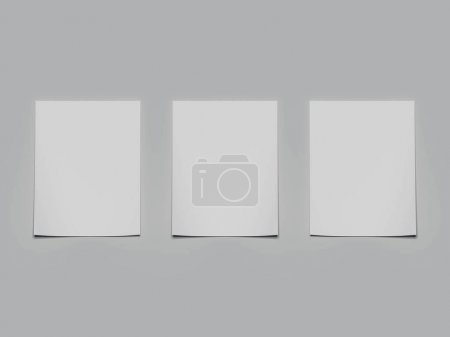 Three white paper sheets with shadows. 3d rendering