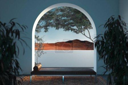 Photo pour Lumineux intérieur moderne et confortable avec grande fenêtre en arc avec belle vue et canapé sombre. Rendu 3d . - image libre de droit