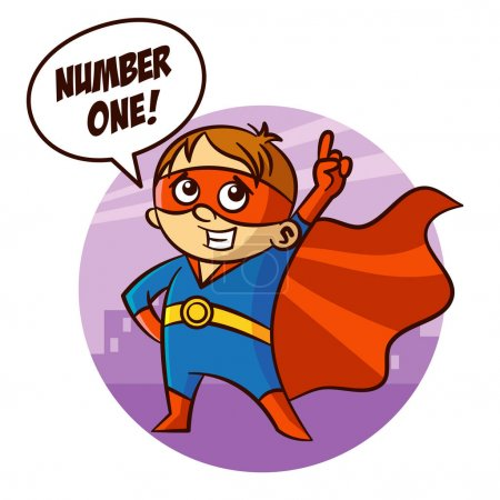 Illustration for Superhero Boy Number one Sticker Vector Illustration - Royalty Free Image