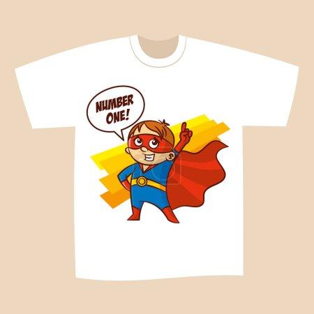 Illustration for T-shirt White Print Design Superhero Vector Illustration - Royalty Free Image