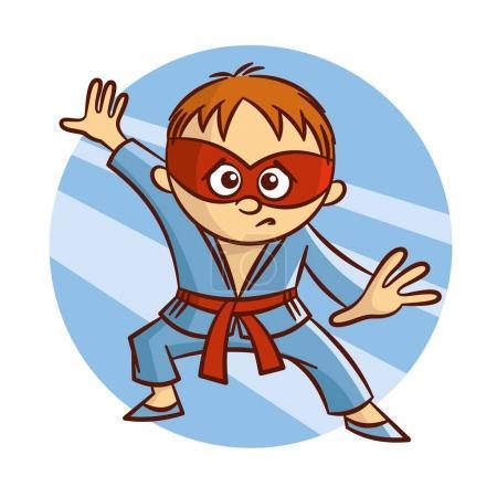 Illustration for Cartoon Superhero Karate Boy Sticker Vector Illustration - Royalty Free Image