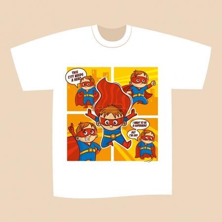 Tshirt White Print Design Superheroes