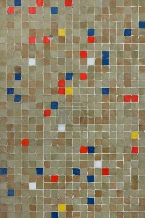 Coloured mosaic tiles.