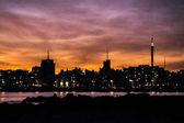 Cityscape Sunset Scene, Montevideo, Uruguay