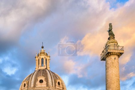 Trajan Column and Dome Church,  Rome, Italy