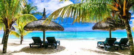 Tropical vacations - turquoise sea and white sandy beaches of Mauritius island