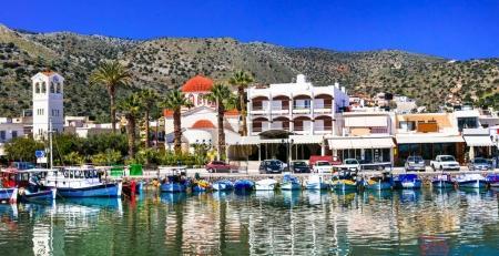 Beautiful places of Crete island - pictorial fishing village Elounda,Greece.