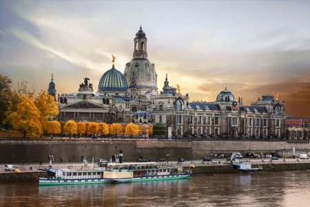 Beautiful romantic Dresden over sunset. Landmarks and river cruise.Germany.