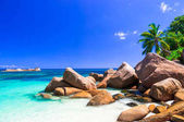 unique granite rocky beach in Praslin island, Seychelles.