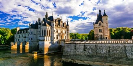 Majestic Chenonceau castle over sunset, Beautiful castles of Loire.