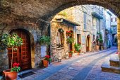 Charming old street of medieval towns of Italy, Umbria region,Assisi.